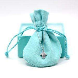 Hamsa Pave Diamonds and Gold Necklace